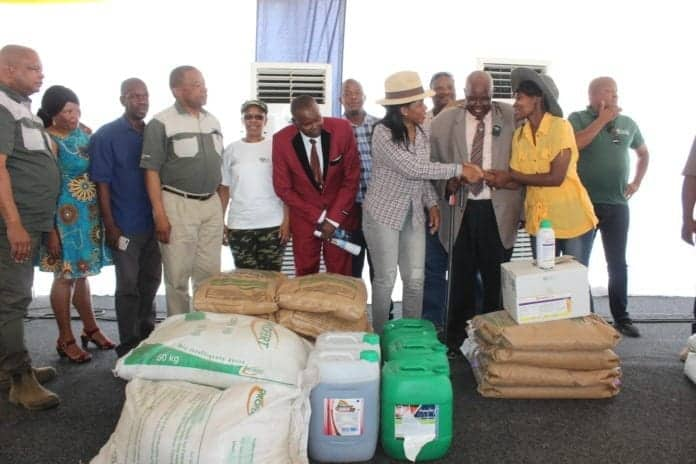 North West agriculture MEC Manketsi Tlhape featured with Dr Poncho Mokaila, Baruti and governmental officials handing over production inputs to farmers during the launch of the annual planting season in Welverdiend.