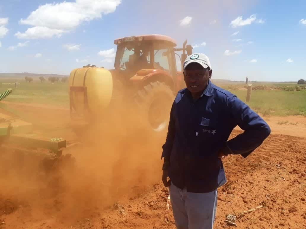 Petrus Tsotetsi busy with soil preparation on his Free State farm. Photo: Supplied