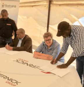 Sernick Group signing partnership agreement with Nketoana Municipality's Municipal Manager, Mzwandile Manzi.