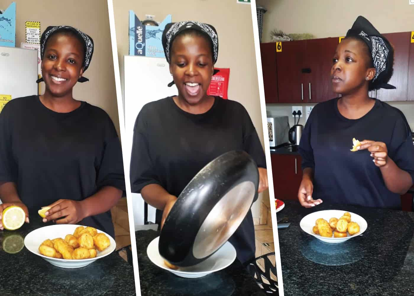 Xoliswa prepared a delicious plate of mushroom and fetta penne with steak on the side.