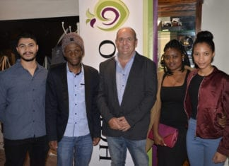 Agricultural students and bursary holders accompanied by Hortgro chairperson and pome director, Nicholas Dicey (middle). From left is Chad van Wyk, Sakata Lebotse, Boitumelo Mokoena and Michaela-Anne White.