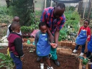 Abaa grows organic vegetables and herbs.