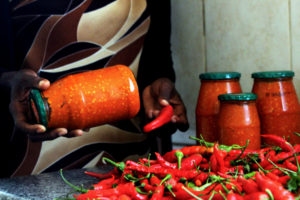 The tasty homemade Chili Sauce by the 61-year-old Thembeni Eunice Nxumalo.
