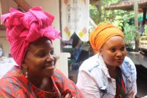Nondumiso Phaahla and Retang Phaahla sitting at the Bryanston Organic Market. Photo: Funiwe Ngwenya