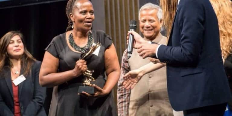 Nonhlanhla Joye earlier receiving the Impact² Woman Entrepreneur of the Year Award in Paris, France. Photo: Supplied