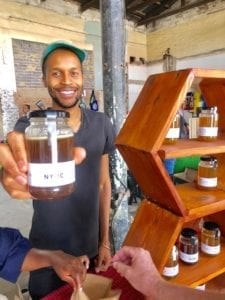 Themba Mntambo marketing his Nyoci organic honey.