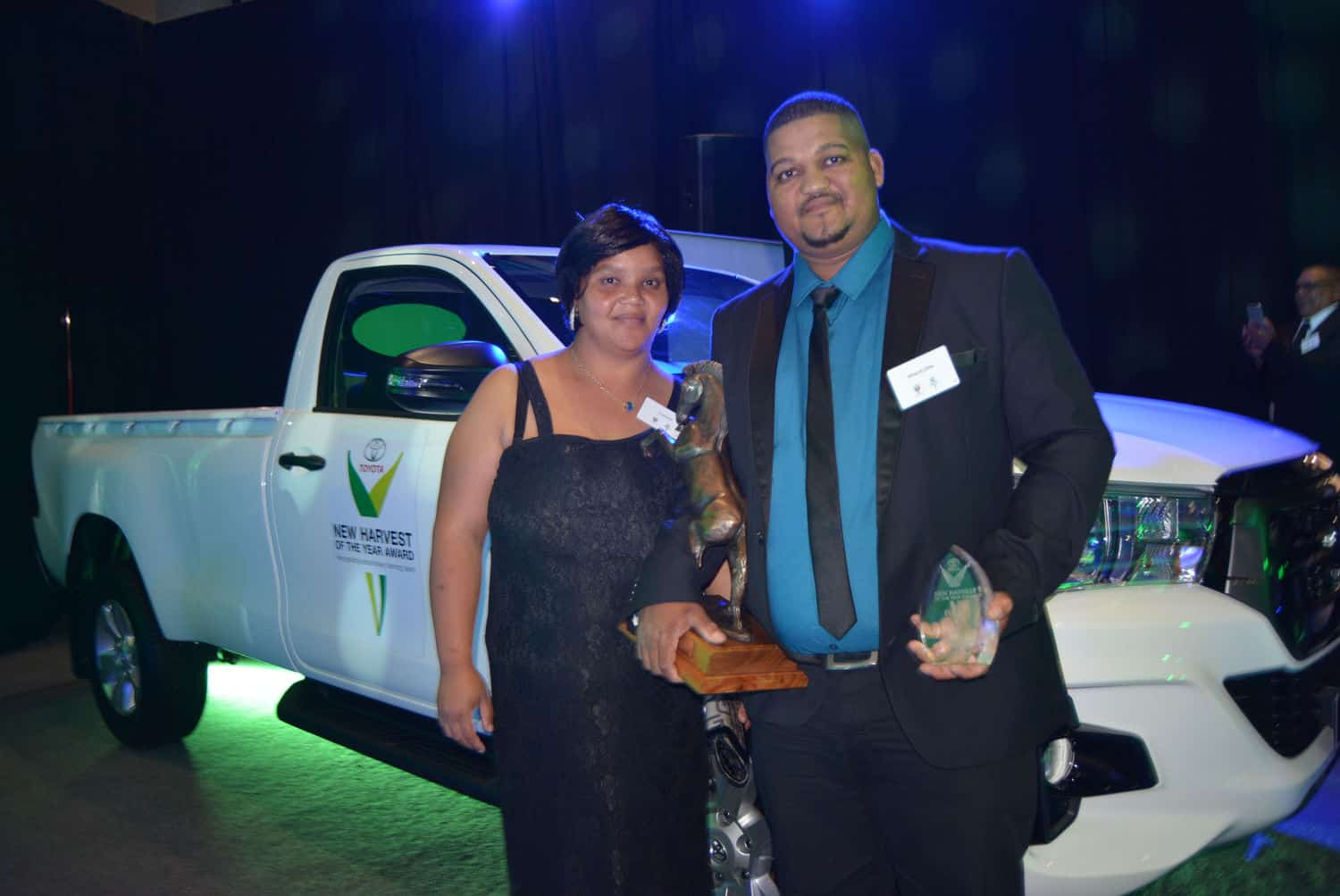 Whernit Dirks earlier won a new Toyota bakkie as part of the upcoming farmer of the year prize. He is pictured with his wife, Eva. Photo: Supplied/Food For Mzansi