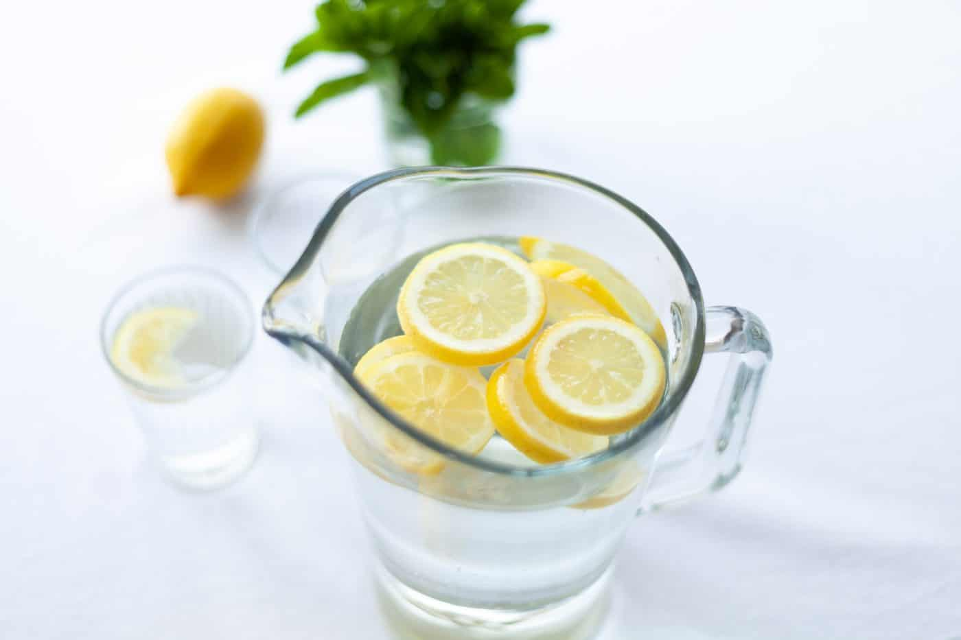 Water, flavoured with slices of lemon , cucumber or mint, are great low-sugar alternatives.