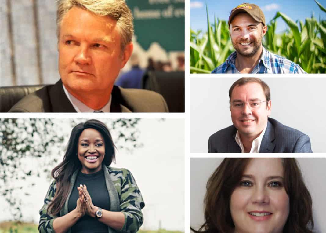 Food For Mzansi Bloemfontein agricultural Power Talk panellist, Gerhard Kriel, Mosele Lepheane, Henk Harmse Dr Frikkie Maré and Dr Ina Gouws.