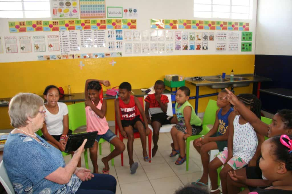 One of their educators Dr Hannie Menkveld, a retired education professor from Stellenbosch University engaging the learners during an English lesson.