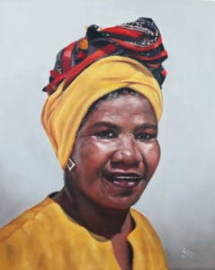 A portrait of Lizzy Snoek painted by renowned artist Johan Trollip, also a resident of Steytlerville.