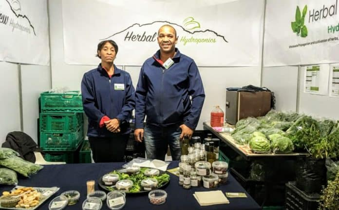 CEO and Founder of Herbal View Hydroponics, Basil Williams and Caroline Williams (sister) exhibiting at the annual South African Cheese Festival.