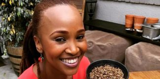 Claire Mawisa, Carte Blanche TV presenter pictured with Gourment Grubb insect ice-cream.