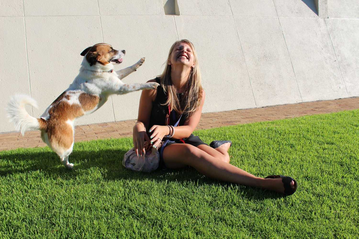 Du Plessis and her dog Baloo.