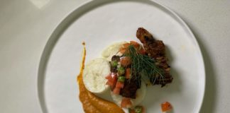Leigh-Ann Modise's braised short rib, pap discs and salsa with chakalaka purée
