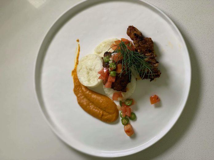 Leigh-Ann Modise's braised short rib, pap discs and salsa with chakalaka purée