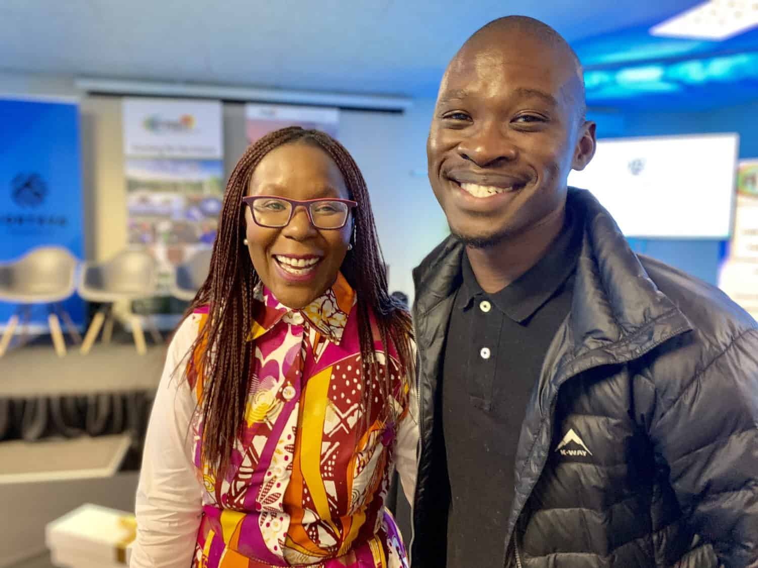 The 25-year-old farmer Andile Ngcobo (right) and Polo Leteka, the executive director and co-founder of IDF Capital, an entrepreneurial financier and advisory firm.