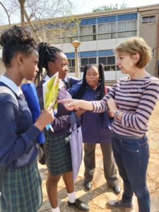 Marianne van der Laarse, owner and managing director of Agrijob engaging with learners from Settlers Agriculture High school.