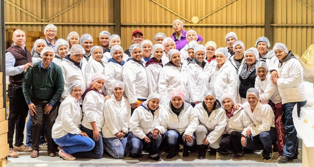 Bestinvestin managing director, Matthew Sampson (far left), with the employees of Wupperthal Rooibos 1830 Packaging Facility in Nieuwoudtville , Northern Cape Province.