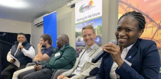 First panel discussion at the fourth Annual AFASA Young Farmers Summit about tech in the agricultural industry. From left is Ivor Price (Food For Mzansi), Matthew Piper (Khula), Olebogeng Mabe (young farmer), Matthew Callcott-Stevens (Gordios Farms) and Dr Nolwazi Mkize (Corteva Agriscience).