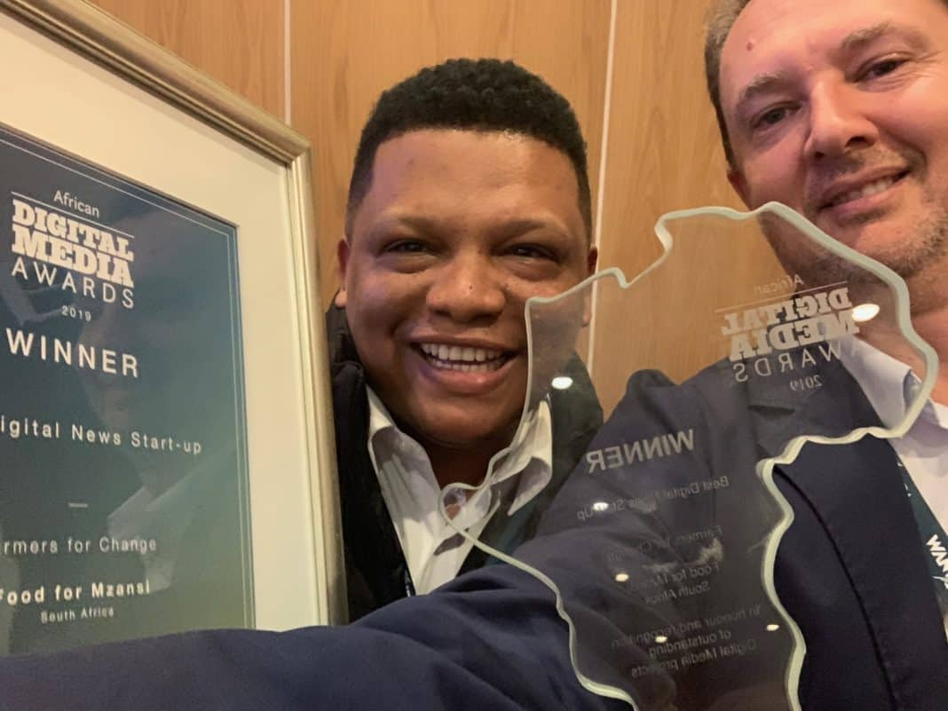 Food For Mzansi's co-founders Ivor Price and Kobus Louwrens moments after receiving two awards from WAN-IFRA, the global organisation for the world's press.