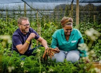 "Justin Bonello (right) founded Neighbourhood Farm to ""fix the wrongs of a broken food system"". Pictured here with him is Saneliswe Mkrezo a permanent Neighbourhood Farm employee."