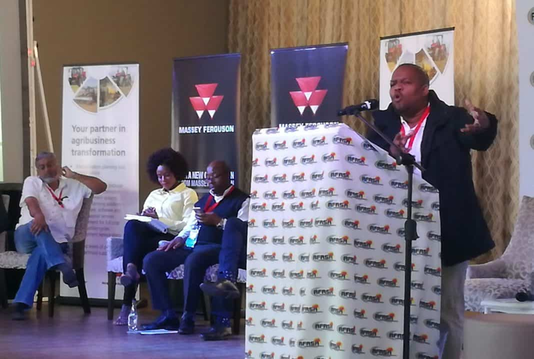 Executive chair of the South African Farmers Development Association (SAFDA), Dr Siyabonga Madlala addressing delegates at the third annual AFASA Agri-business conference in Bloemfontein.
