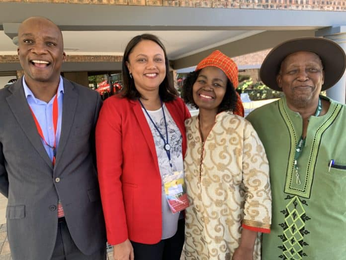 From left to right: Standard Bank enterprise development sector head, Diale Mokgojwa, Western Cape Protea farmer, Marilyn Siegels, AFASA president Dr Vuyo Mahlati and the executive director of AgriGrow Otto Mbangula, pictured on the third and final day of the AFASA Agri-business Transformation Conference at Imvelo Safari in Bloemfontein.