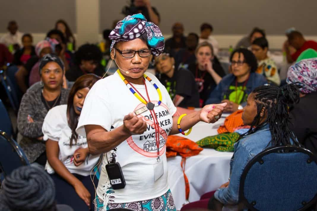 Bettie Fortuin, agri-worker and representative of the Women on Farms Project, addressing agri-workers at the Future of Farmworkers conference held at the University of the Western Cape.