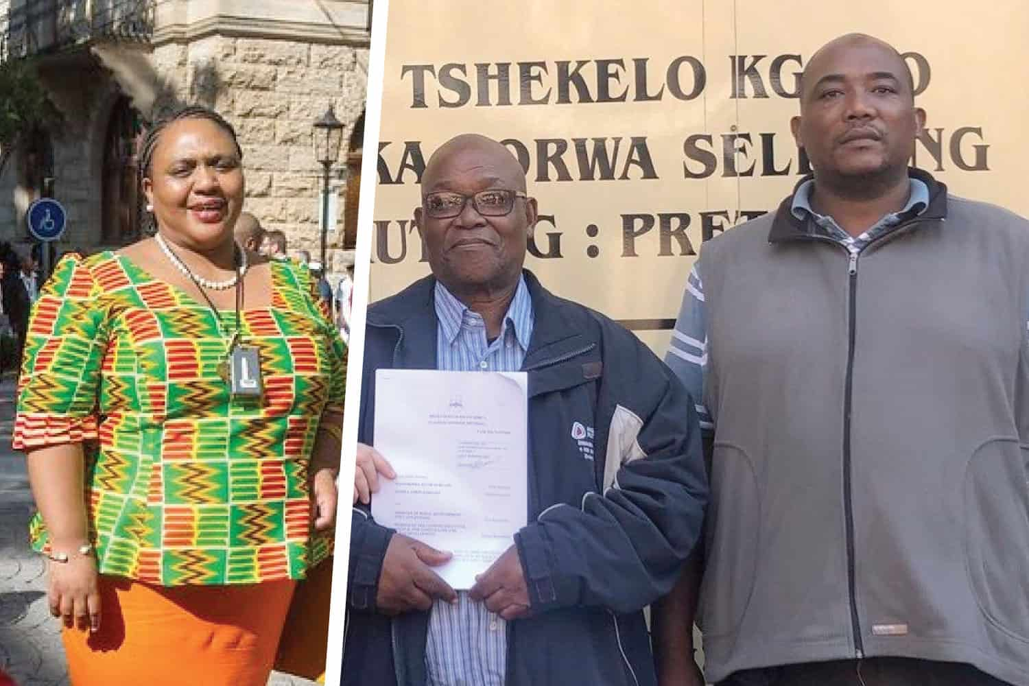 Thoko Didiza, the minister of agriculture, land reform and rural development, and David Rakgase and his son, Mmofa.