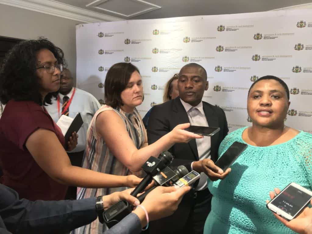 MOTSEPE: Minister Thoko Didiza addressing the media during the AFASA Agri-business Transformation Conference in Bloemfontein in October 2019. Photo: Food For Mzansi