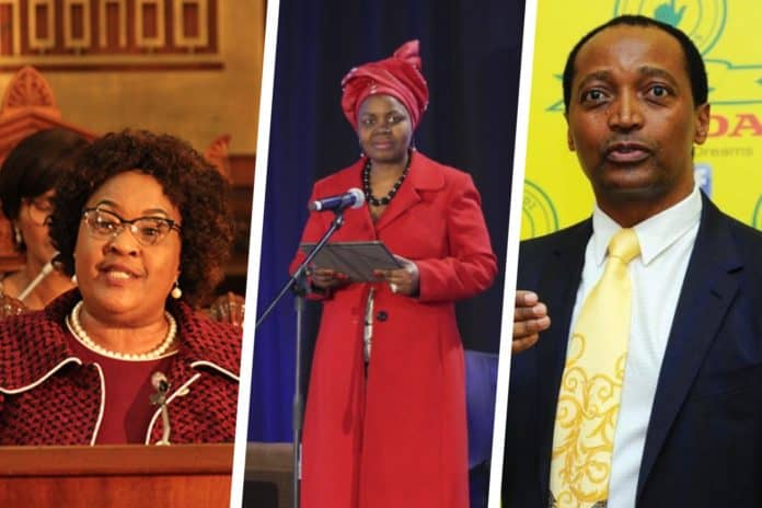 From left to right: Free State Premier Sisi Ntombela, AFASA president Dr Vuyo Mahlati and South African businessman, Patrice Motsepe.