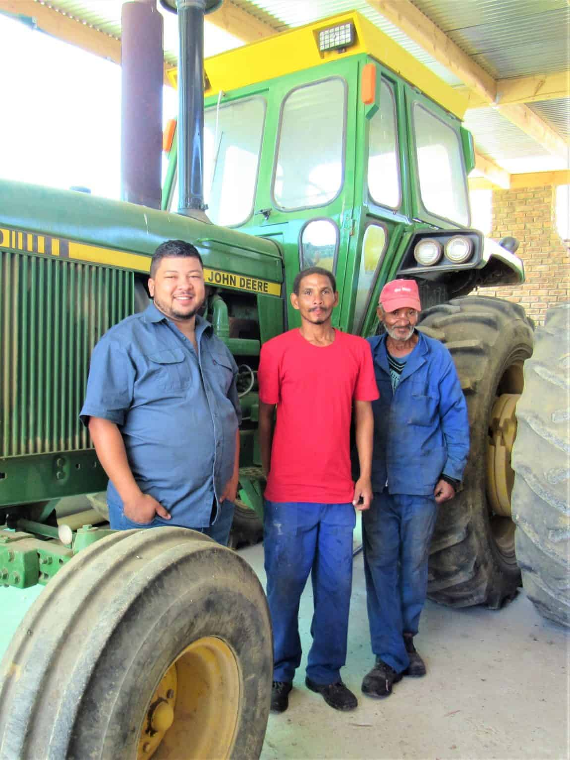 Gary Patience (left) with his committed team of agriworkers, Jason Pedro (middle) and Julie de Bruin (right)