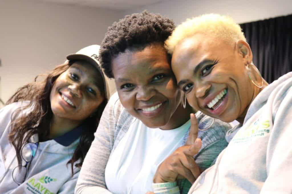 Karabo Rampete (right) pictured with Kesaobaka Mahobe (left) and Marjorie Moloi (middle) at the 2019 AFASA Young Farmers Summit.