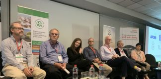 Cotton Cluster phase one journey panellist, Hennie Bruwer, Cotton SA CEO, Leonard Venter Cotton SA Chairperson, Mairi Watson, sourcing director at the Mr Price Group, Justin Mansfieldm managing director at Power House, Enrique Grouse, CEO of Prilla 2000, Joseph Kempen, CEO at Loskop Cotton Gin and Elaine Smith, Director of the Clothing and Textiles at the Department of Trade and Industry.