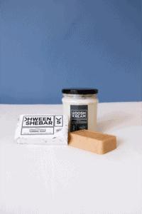 Kwheenshebar's Turmeric Soap and Koosh Cream.