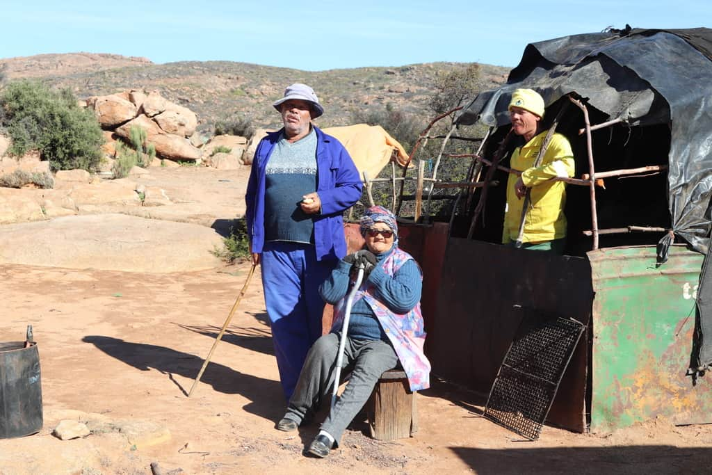 Oom Gert Brandt meets up with his wife, Auntie Kate and helper who prepared the winter stock post in Jaarskloof. Photo: Clement Cupido.