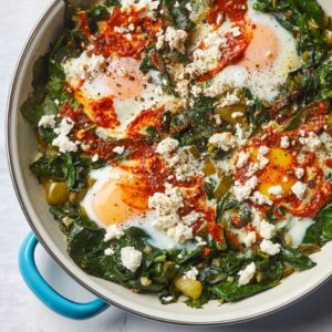 Eggs Shakshuka(eggs poached in a spicy tomato & pepper sauce).