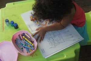 Colouring books and paint are always a good way to entertain toddlers at home.