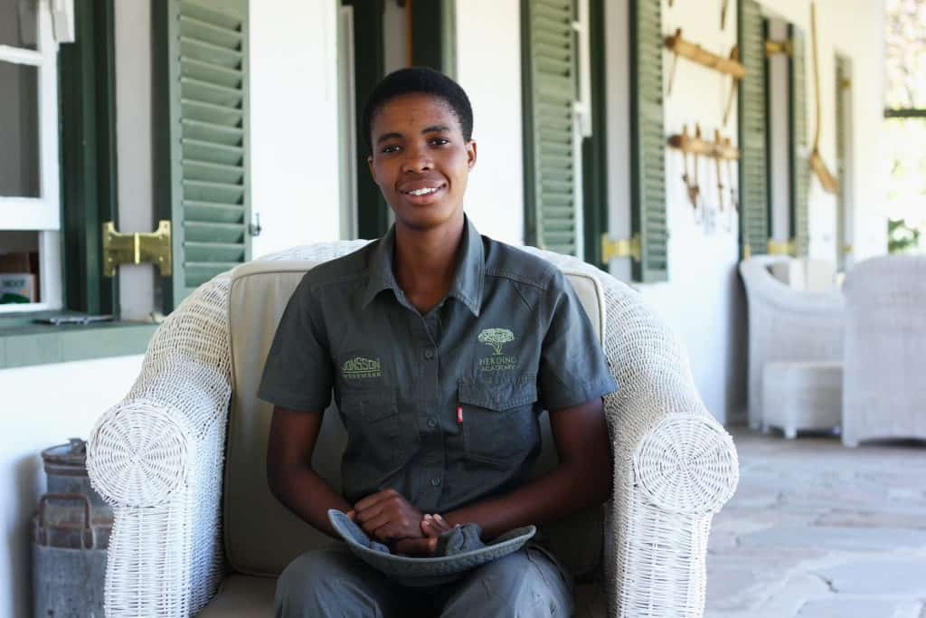 Lungiswa Nongalo (23) of Lugada village heard of the Herding Academy through an alien eradication and recycling centre in Matatiele where she did volunteer work.