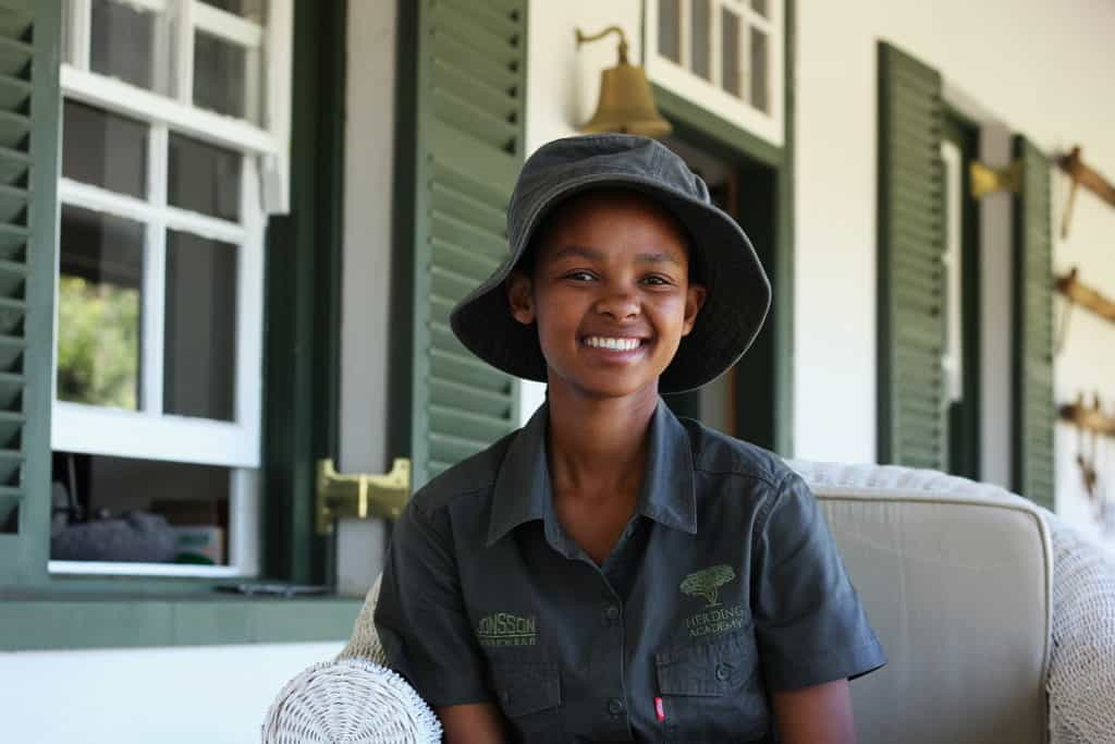 Engela Nthoba (20) of Khoapa village says she loves animals and worries about the soil erosion around her village.