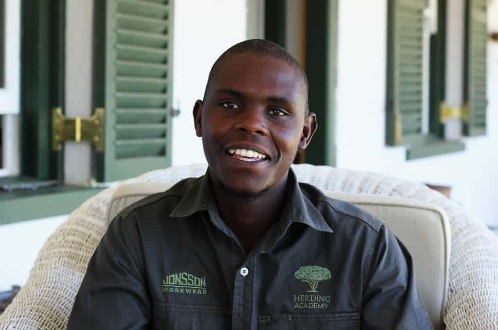 """Vincent Nomzaza (28) of Ngcwengana village was jobless and a volunteer doing alien plant clearing before applying to study at the Herding Academy. """"In my village, there are a lot of cattle and sheep, but we need more grazing for them. The land has been degraded."""""""