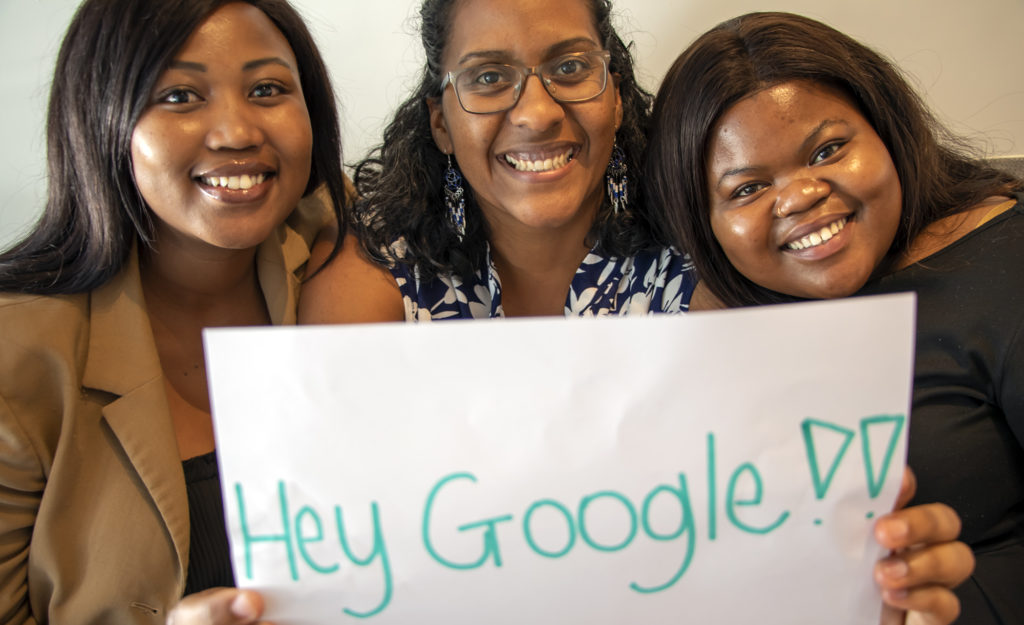 In 2020, Food For Mzansi was selected as one of only two South African news organisations to receive support from the Google News Initiative. The news was celebrated by Food For Mzansi editor: audience and engagement Dawn Noemdoe (middle) and journalists Sinesipho Tom and Noluthando Ngcakani. Photo: Food For Mzansi