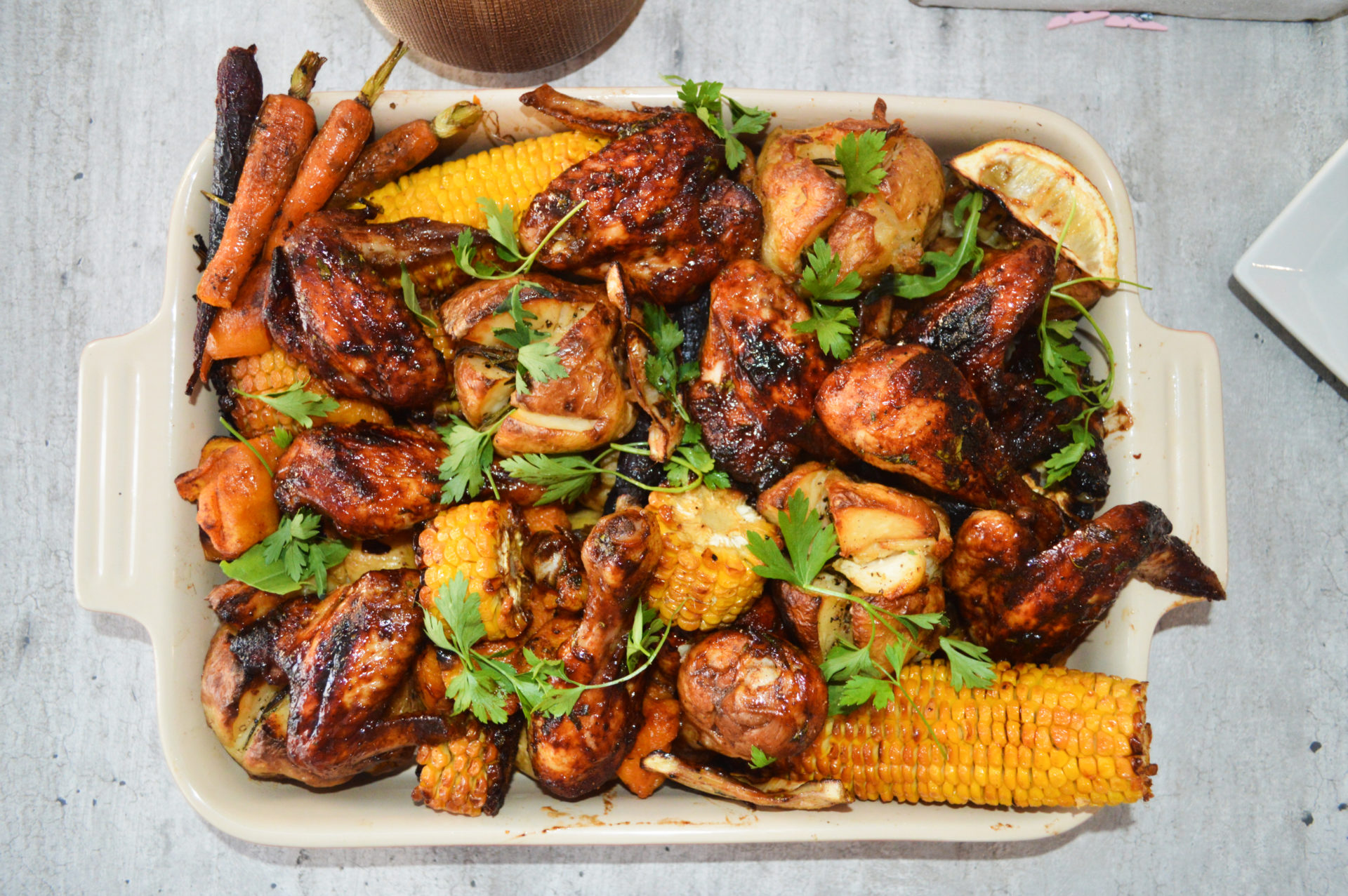 Miranda's sticky roasted chicken with a medley of vegetables.