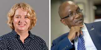 Shadow minister of agriculture, land reform and rural development, Annette Steyn (left) is calling for the South Africa's auditor-general, Thembekile Kimi Makwetu (right) to do an urgent audit into drought relief funding. Photo: supplied.