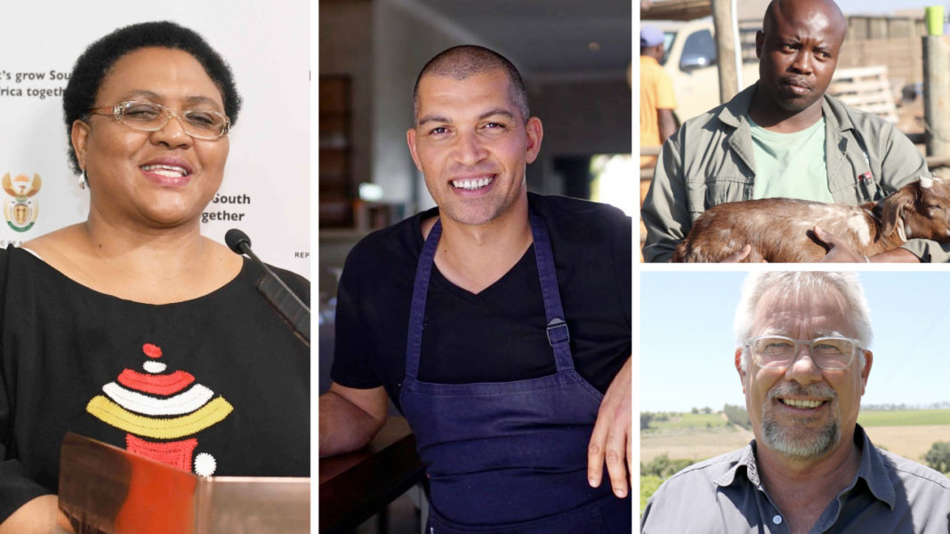 Pictured (from left): Thoko Didiza, minister of agriculture, land reform and rural development, Reuben Riffel, celebrity MasterChef, (top right) Emmanuel Mudau, award-winning indigenous goat farmer and Johan Hanekom, managing director of InteliGro. Photo: Supplied.