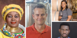 Pictured from the left are minister of tourism Mmamoloko Kubayi-Ngubane, owner of Woodstock Brewery André Viljoen, and (right, from the top) agriworker at Malleneux Wines Gynore Fredericks and executive director of AgroMinds Africa, Steven Odarteifio. Photo: Supplied