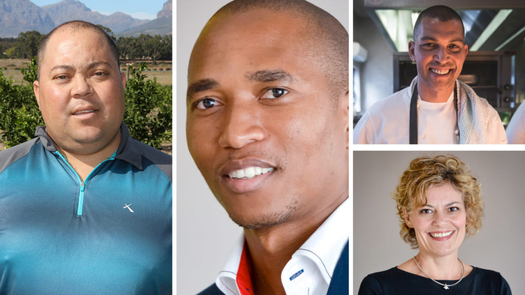 Pictured from the left are Wayne Mansfield, 2018 Western Cape New Entrant to Commercial Agriculture Award winner, Dr Sifiso Ntombela, chief economist at the National Agricultural Marketing Council, (top right)Reuben Riffel, celebrity MasterChef and Jennifer Roets, communications and events consultant for Produce Marketing Association (PMA) in SA Photos: Supplied.