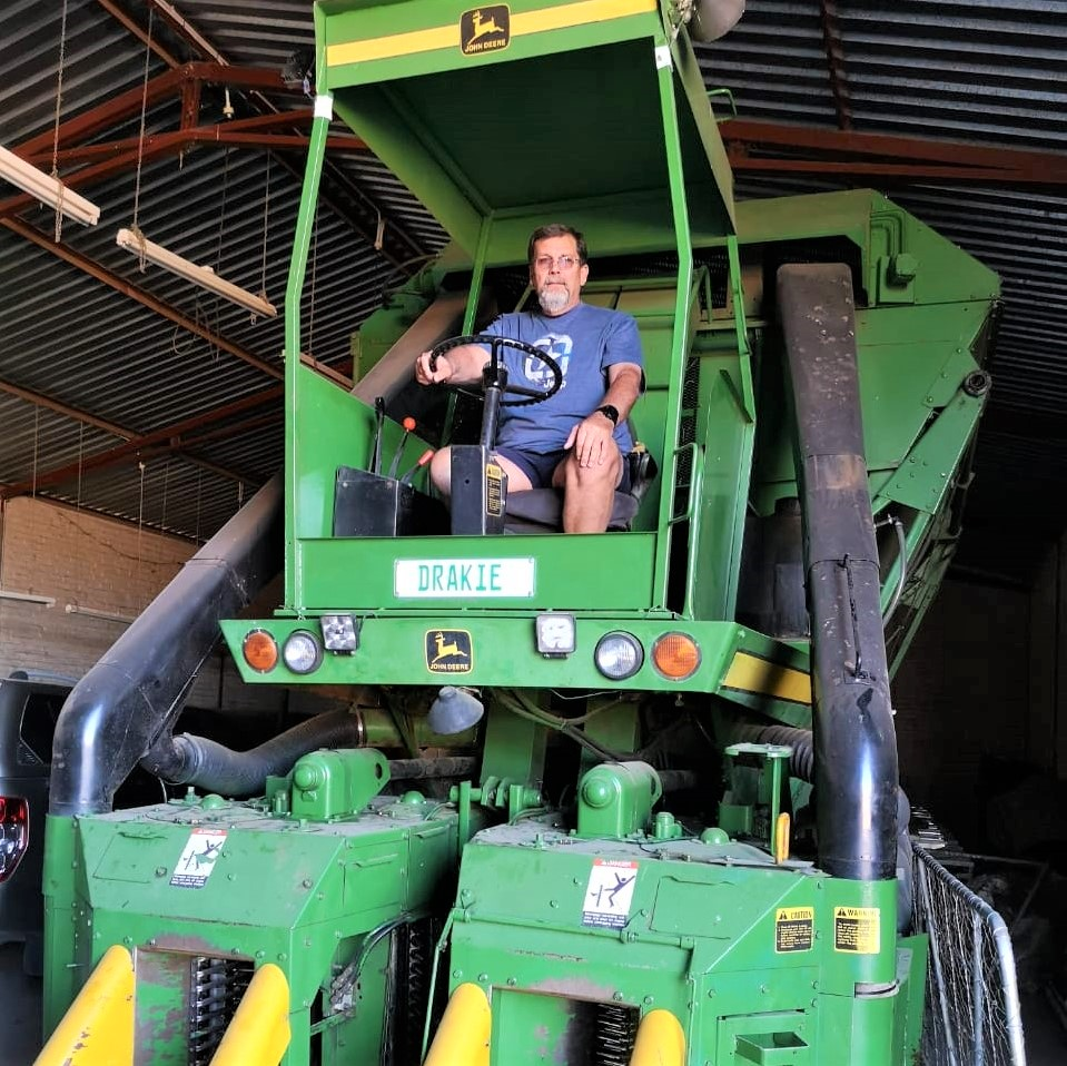 PIctured: Susan's husband, Schalk who is in charge of all the mechanical work on the farm. Photo: Supplied.