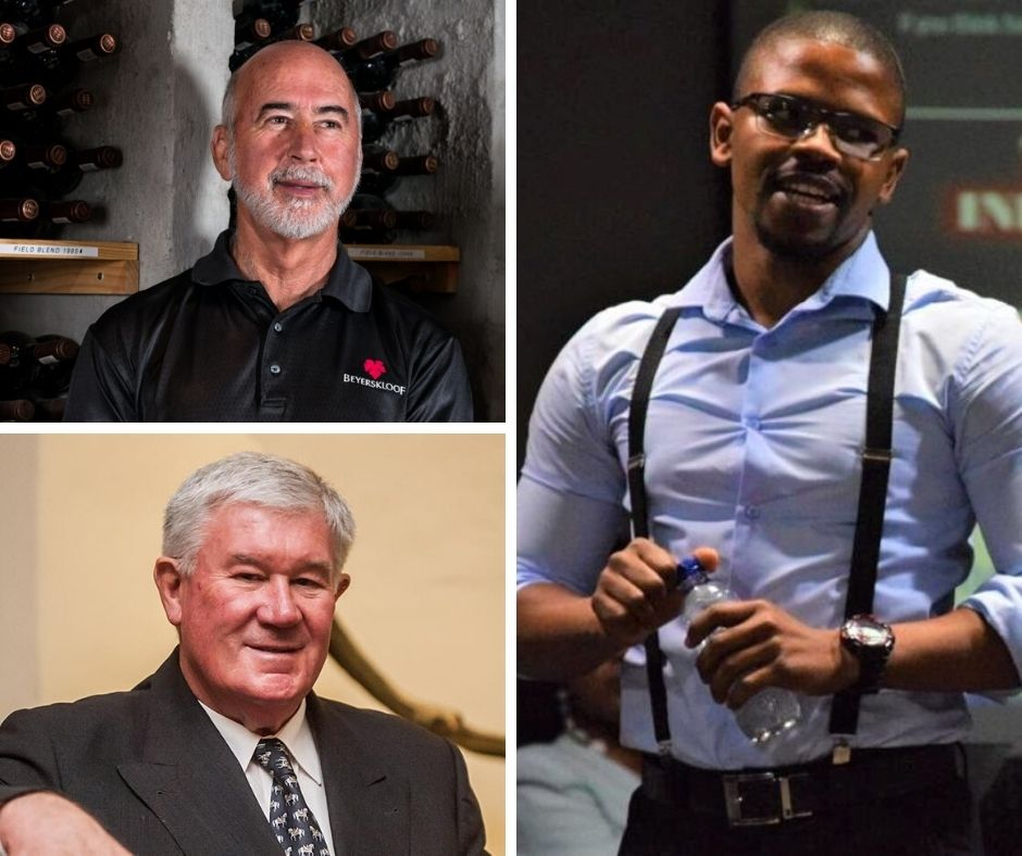 Pictured clockwise from the top left are Beyers Truter from Beyerskloof, Qinisani Qwabe, agricultural researcher and (bottom left) Danie De Wet, pioneer of white wine cultivars in South Africa. Photo: supplied.